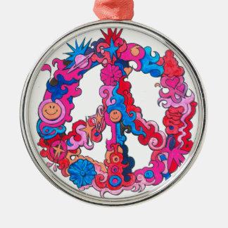 Psychdeclic Peace Symbol Silver-Colored Round Ornament