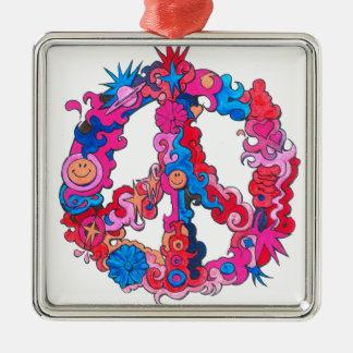 Psychdeclic Peace Symbol Silver-Colored Square Ornament