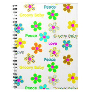 Psychedelic 60s Groovy Flowers Mousepad Spiral Notebook