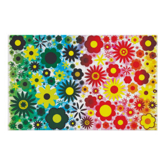 Psychedelic 60s Red Green Flowers Pattern Poster