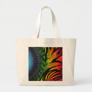 psychedelic abstract painting jumbo tote bag