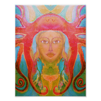 Psychedelic Art 60s Poster Retro Hippie Woman