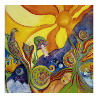 Psychedelic Art Poster-60s Retro-Hippie Woman-Sun Poster