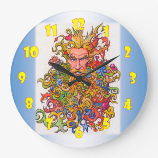 Psychedelic beard guy large clock
