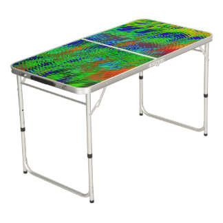Psychedelic Beer Pong Tailgate Table