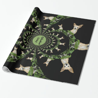 Psychedelic Beige And White Chihuahua Humorous Wrapping Paper