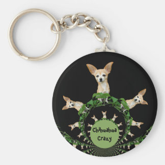 Psychedelic Beige And White Humorous Chihuahua Keychain