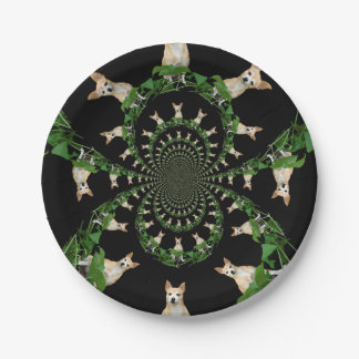 Psychedelic Beige Chihuahua Humorous Paper Plate