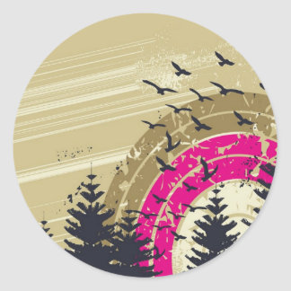 psychedelic birds south abstract round sticker