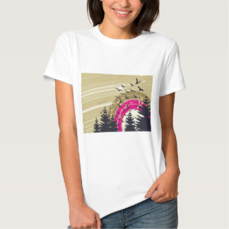 psychedelic birds south abstract t-shirts