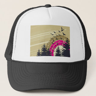 psychedelic birds south abstract trucker hat