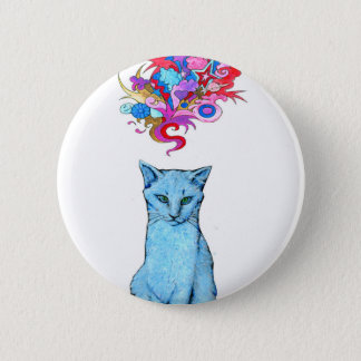 Psychedelic Blue Cat 2 Inch Round Button