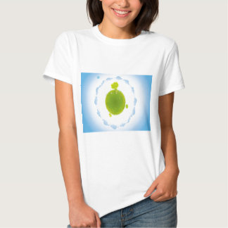 psychedelic blue clouds green earth tee shirt