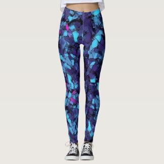 Psychedelic blue kaleidoscope leggings