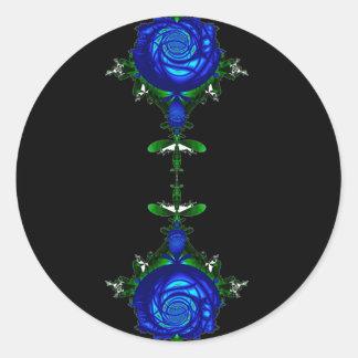 Psychedelic Blue Round Sticker