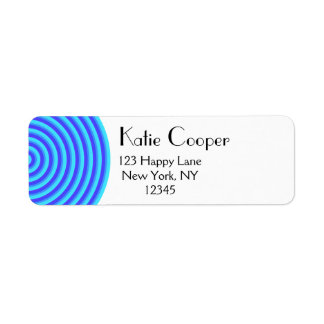 Psychedelic Blue Spirals Return Address Label