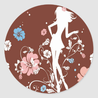 psychedelic brown girl flowers round sticker