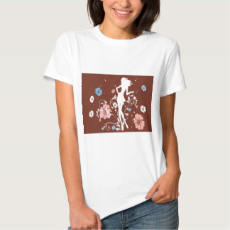 psychedelic brown girl flowers t-shirt