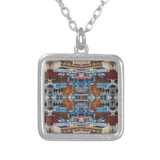 Psychedelic Building Pattern Silver Plated Necklace