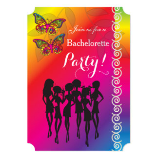 Psychedelic Butterfly Bachelorette Party Designs Card