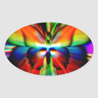 Psychedelic Butterfly Fractal Oval Sticker