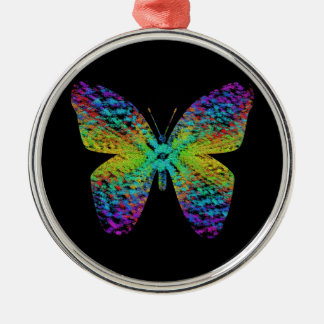 Psychedelic butterfly. metal ornament