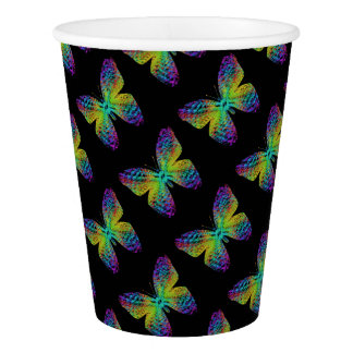 Psychedelic butterfly. paper cup