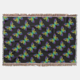 Psychedelic butterfly. throw blanket