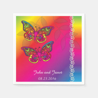 Psychedelic Butterfly Wedding Designs -Napkins Paper Napkins