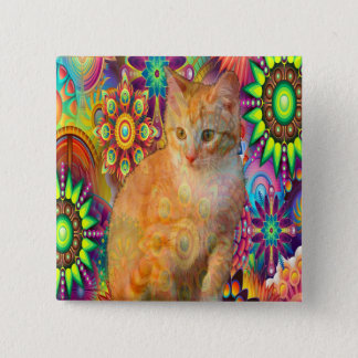 Psychedelic Cat Button, Tie Dye Cat 2 Inch Square Button