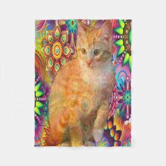 Psychedelic Cat Fleece Blanket, Tie Dye Cat