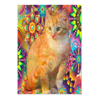 Psychedelic Cat Invitation, Tie Dye Cat Card