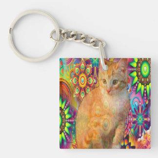 Psychedelic Cat Keychain, Tie Dye Cat Keychain