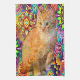 Psychedelic Cat Kitchen Towel, Tie Dye Cat Kitchen Towel