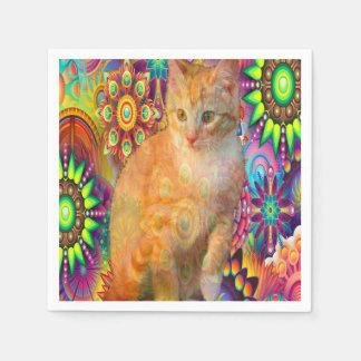 Psychedelic Cat Napkin, Tie Dye Cat Paper Napkins