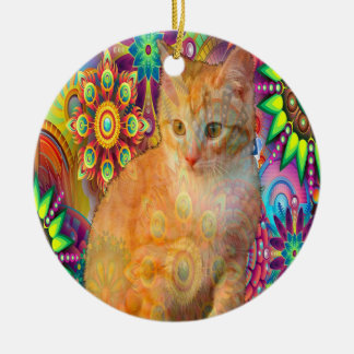 Psychedelic Cat Ornament, Tie Dye Cat Ceramic Ornament