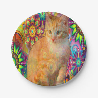 Psychedelic Cat Plate, Tie Dye Cat Paper Plate