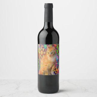 Psychedelic Cat Wine Bottle, Tie Dye Cat Wine Label