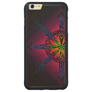 Psychedelic Chaos on Genuine Hardwood Maple Carved Maple iPhone 6 Plus Bumper Case
