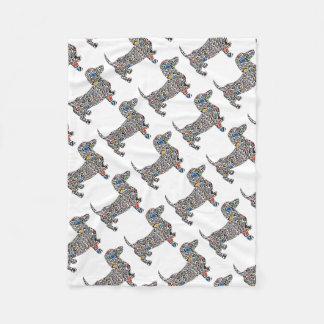 Psychedelic-Cheetah-Doxie Fleece Blanket