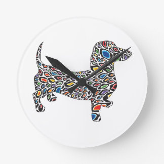 Psychedelic-Cheetah-Doxie Round Clock