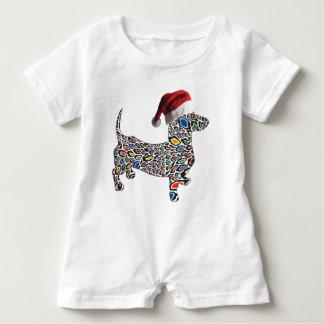 Psychedelic-Cheetah-Doxie-Santa Baby Romper