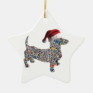 Psychedelic-Cheetah-Doxie-Santa Ceramic Ornament