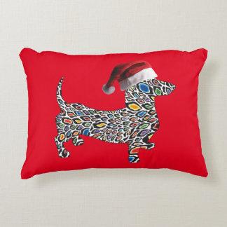 Psychedelic-Cheetah-Doxie-Santa Decorative Pillow