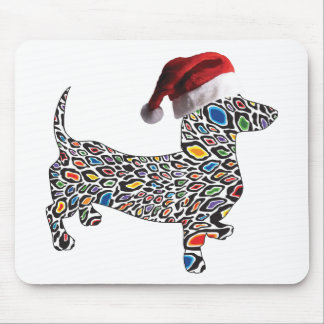 Psychedelic-Cheetah-Doxie-Santa Mouse Pad
