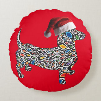 Psychedelic-Cheetah-Doxie-Santa Round Pillow