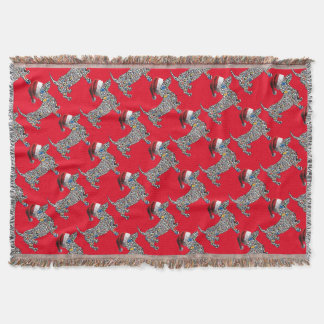 Psychedelic-Cheetah-Doxie-Santa Throw Blanket