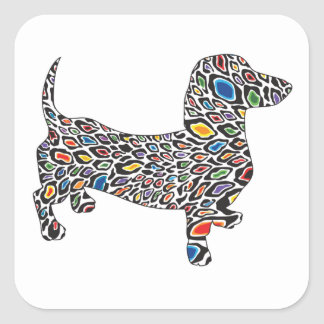 Psychedelic-Cheetah-Doxie Square Sticker