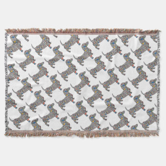 Psychedelic-Cheetah-Doxie Throw Blanket