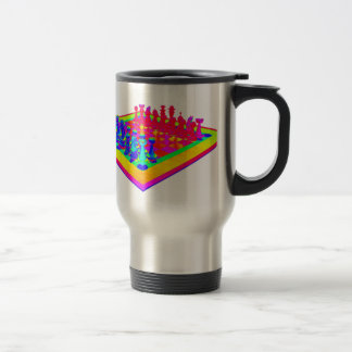 Psychedelic Chessboard and Chess Pieces Travel Mug